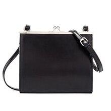Casual Clip Bag Women Messenger Bag PU Leather Black 2019 La