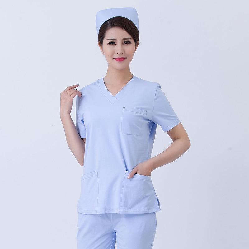Summer Stretch Cotton Surgical Gown Suit Nursing Uniform Scrubs Medical Unisex Operating Room Doctor Nurse Cosmetologist Uniform