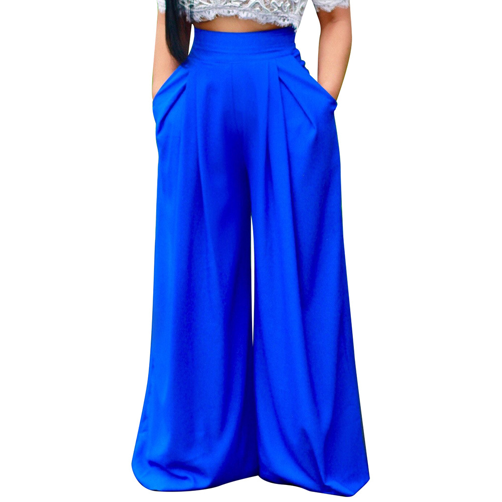 Summer Trousers Women High Waist Long Harem   Pants   Pockets Loose Pleated Blue Yellow Red   Wide     Leg     Pants   Solid Long   wide     leg     pants
