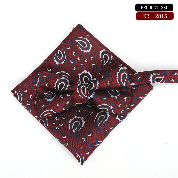 Men's printed bow tie  handkerchief For Men Fashion Casual Tuxedo Adjustable Silk Bow Tie Hanky  Free Shipping