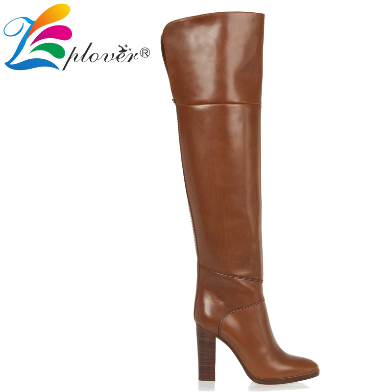 zplover leather boots shoes woman winter over the knee boots women shoes thigh high botas zapatos mujer high heel bota feminina knitted women high knee boots thigh high boots over the knee boots elastic slim autumn winter warm woman shoes botas feminina