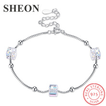 SHEON Authentic 100% 925 sterling silver Sugar Cube Personality Crystal Bracelets Box Chain Fine Wedding & Engagement Jewelry