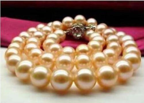 HUEG 1810-11mm natural freshwater genuine round gold pink silver pearl necklaceHUEG 1810-11mm natural freshwater genuine round gold pink silver pearl necklace