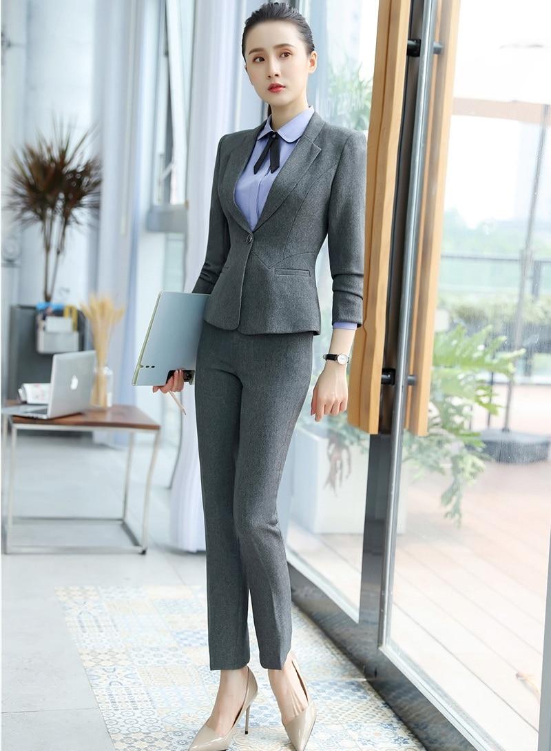 Avec Pantsuits Styles Costumes D'affaires Femmes Travail Bureau Et Formelle Noir Blazer De Ensemble Dames Veste Uniforme Vêtements Pantalon fqTY16w