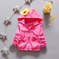 2016 Girls Long Sleeve Polka Dot Cotton Girls Jacket Hooded with Bow Fashion Outerwear & Coats  Kids Wind Coats for Autumn