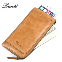 DANTE Men Wallets Classic Long Style Card Holder Male Purse Quality Zipper Large Capacity Big Brand Luxury Wallet For Men 2019