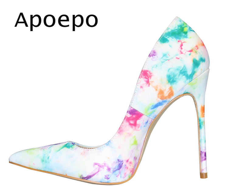 Apoepo Fashion Pointed Toe High heel shoes 2018 Sexy Stiletto Heels for Woman Graffiti Printed Dress heels thin heels shoes newest patent leather high heel shoes sexy pointed toe woman pumps 2017 leopard printed stiletto heels thin heels dress shoes