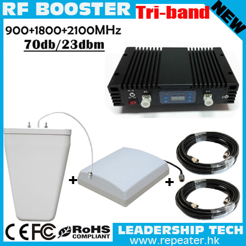 Work 300m2 Mobile Booster Tri Band Signal Amplifier 900 1800 2100GSM Repeater With ALC/MGC Cell Phone Signal Repeater Booster