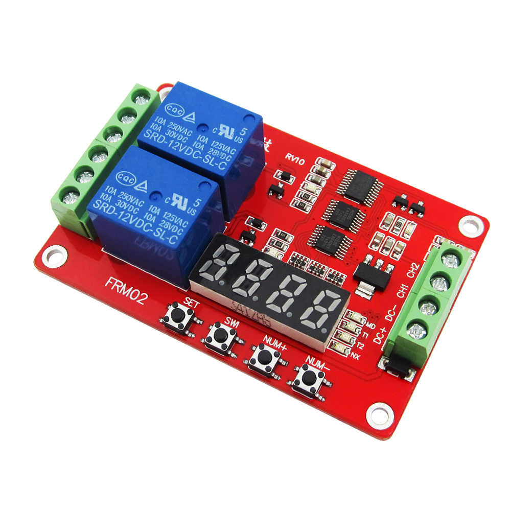 5pcs/lot Lcd module FRM02 2 channel Multifunctional Relay Module / Loop Delay / timer switch / self-locking / 5V,12 V 24V dc 12v led display digital delay timer control switch module plc automation new