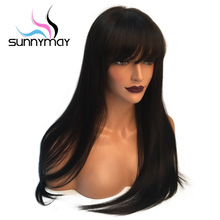 Sunnyma 150% Straight Lace Front Human Hair Wigs With Bangs Brazilian Remy Pre Plucked Bleacehd Knots Lace Wigs For Black Women(China)