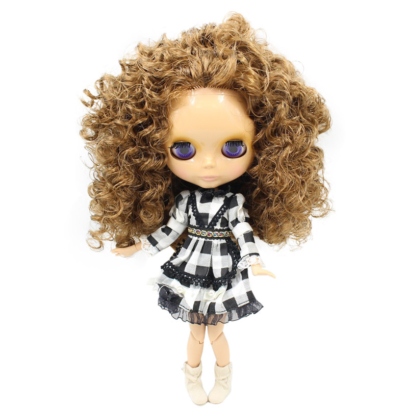 Nude Blyth Doll Serires No BL0623 Curly Brown hair JOINT body burning skin with big breast