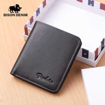 BISON DENIM Men Wallets Black Genuine Leather Purse For Men Business Card Holder Men\'s Wallet Mini N4429
