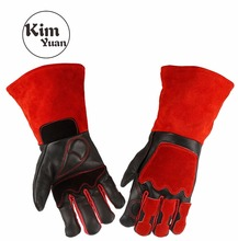 KIM YUAN 025L Cowhide Welding Gloves Heat Resistant t for Welder/Cooking/Baking/Fireplace/Animal Handling/BBQ Black-Red 14inches