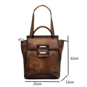 Image 5 - Johnature 2020 New Retro Genuine Leather Bag Solid Color Backpack Handmade Cowhide Large Capacity Women Backpacks Travel Bags