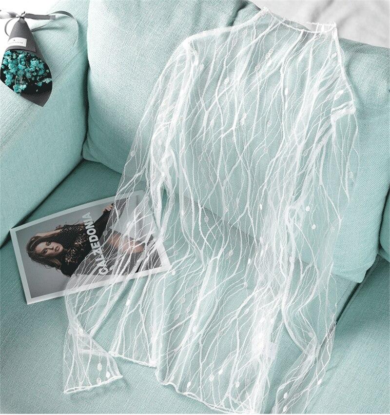 Женская кружевная блузка, прозрачная белая блузка в полоску с длинным рукавом, Осень-зима