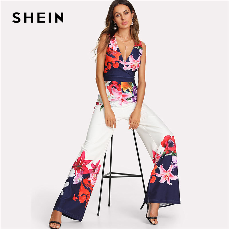 SHEIN Flower Print Zip Back Sleeveless Jumpsuit Elegant 2018 New Women Deep V Neck Sleeveless High Waist Wide Leg Jumpsuit elegant blue plunging neck sleeveless wide leg jumpsuit for women