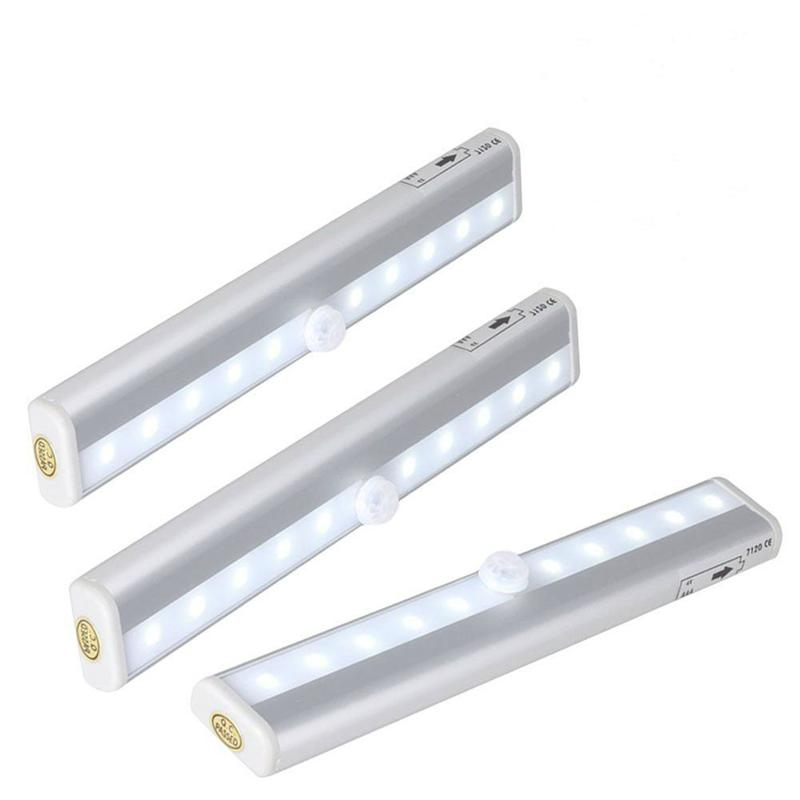 3pcs Wireless PIR Motion Sensor 10 LED battery powered Cabinet Wardrobe Bright Magnetic Strip Stick-on Closet Lamp