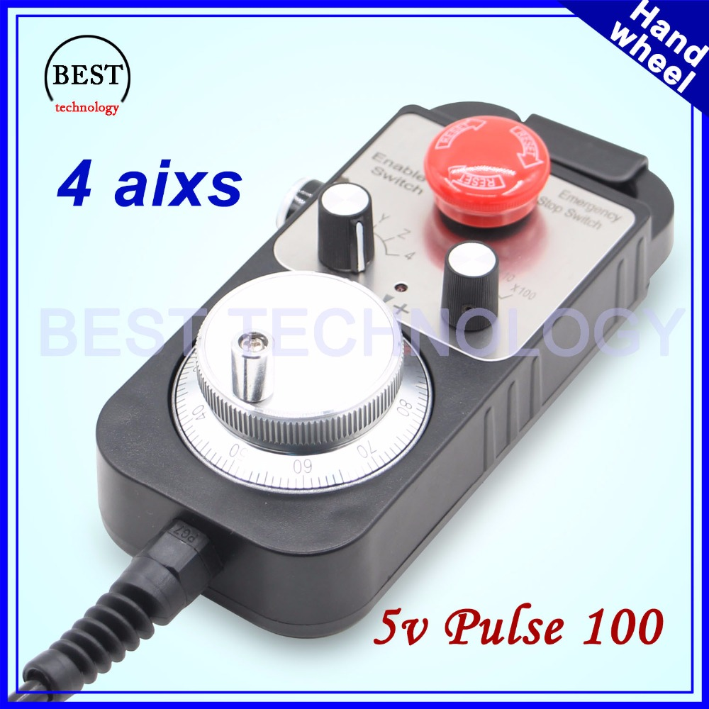 Фотография Universal CNC Router Hand Wheel 100 pulse 5v MPG Pendant Handwheel & Emergency Stop 4 axis Manual pulse generator