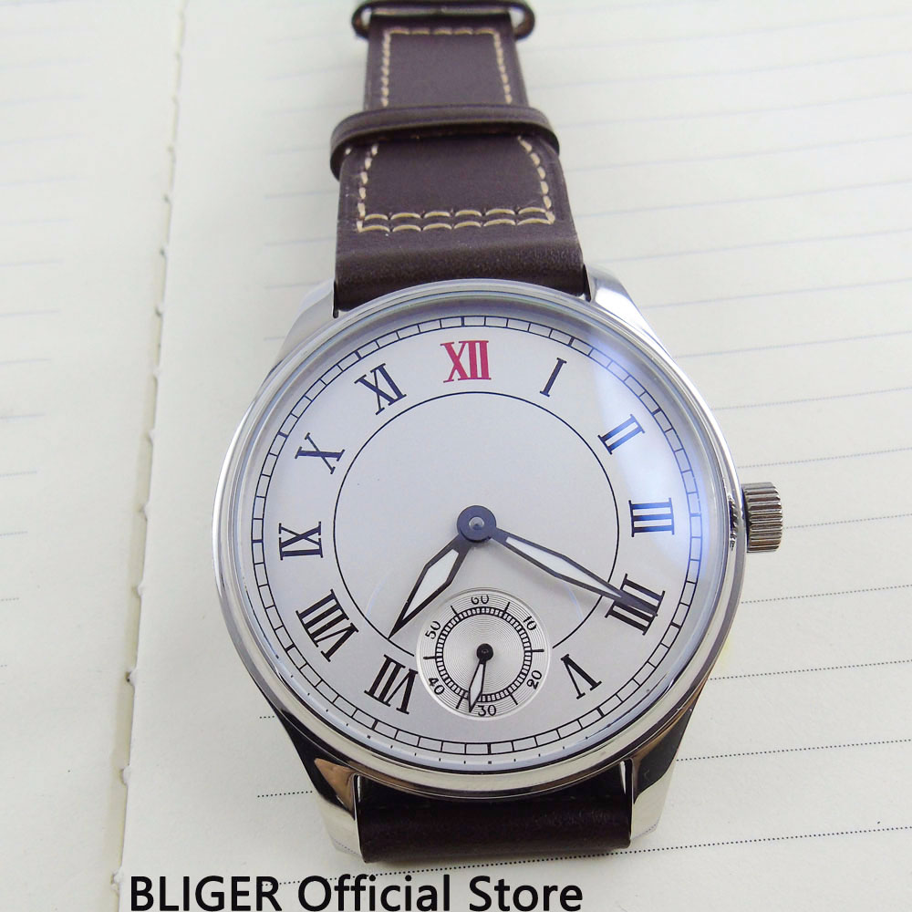 Clásico 44MM blanco grande estéril Dial romano números 17 joya 6498 movimiento de cuerda manual correa de cuero piloto relojes de pulsera para los hombres-in Relojes mecánicos from Relojes de pulsera    2