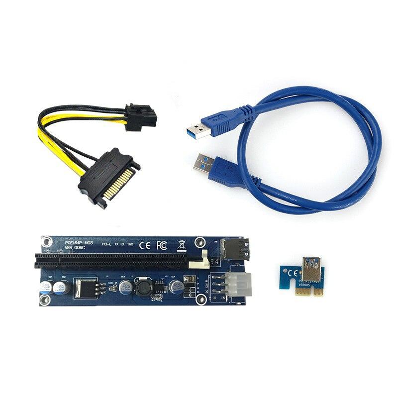 כרטיס riser כרטיס USB3.0 6Pin PCI-E1X ל 16X Extender כרטיס גרפי מתאם כבל עם סאטה 15pin ל 6pin כבל החשמל עבור כרייה