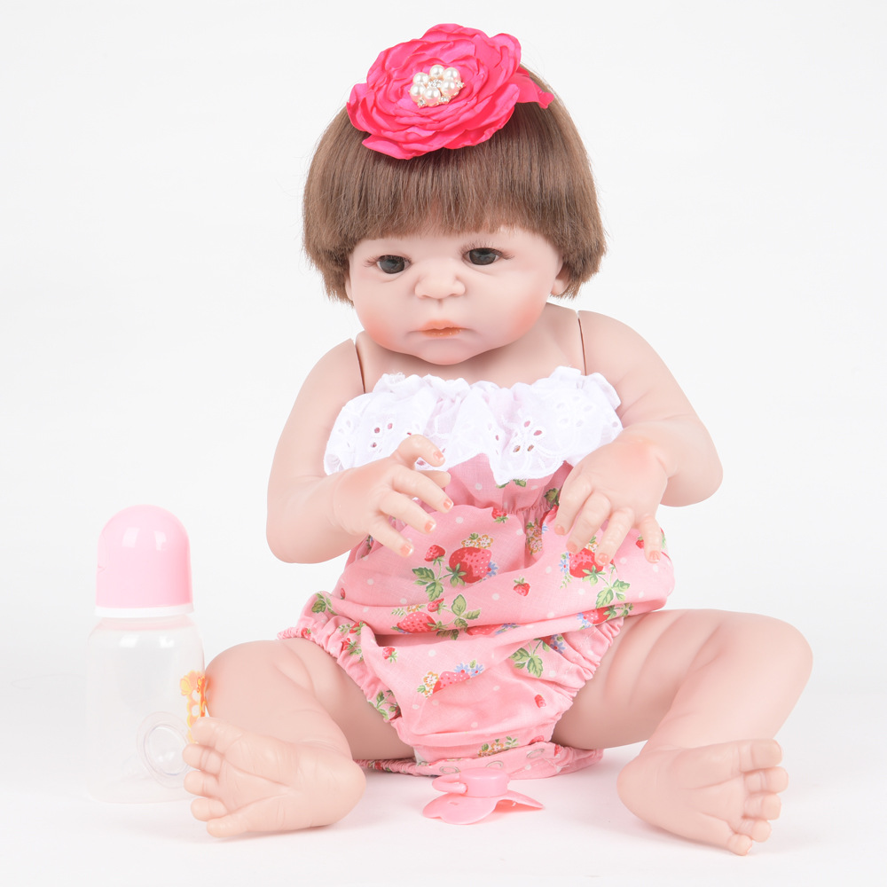 55cm Soft Full Silicone Vinyl Reborn Baby Doll Lifelike Newborn Girl Dolls for Children Kids Toy Birthday Xmas New Year Gift 22 inch soft full silicone vinyl reborn baby doll lovely sleeping girl dolls for children kids toy birthday xmas new year gift