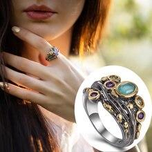 2021 Винтаж кольцо с камнями зеленый Цирконий белым жемчугом