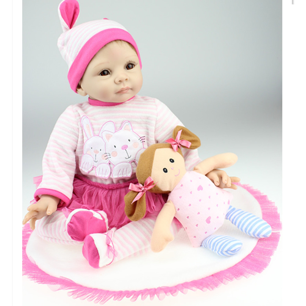 50cm Silicone Reborn Dolls with Clothes, 20 Inch Lifelike Baby Reborn Doll Toys for Children's Birthday Gift short curl hair lifelike reborn toddler dolls with 20inch baby doll clothes hot welcome lifelike baby dolls for children as gift