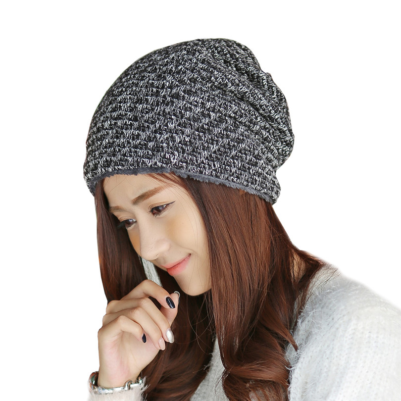 Winter Brand Cap Bonnet Beanies Knit Thick Wool Velvet Hats Oversized Skullies Hats For Women Beanie Warm Baggy Gorros Caps M083