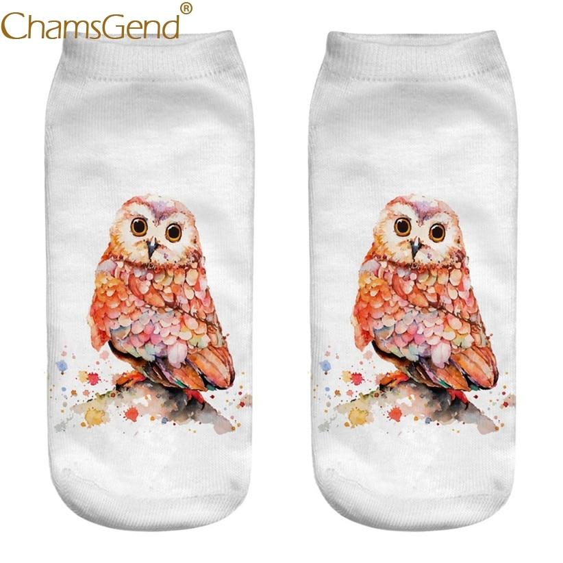 Chamsgend Drop Shipping Warm Color Owl Cartoon Print Cotton Socks Women Meia Drop Ship 80402