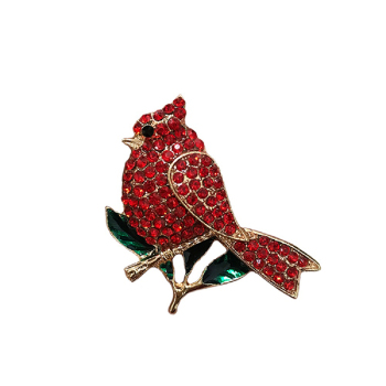 50pcs/lot Red Rhinestones Animal Cardinal Bird Crystal Brooch Pin for Women Jewelry Gift