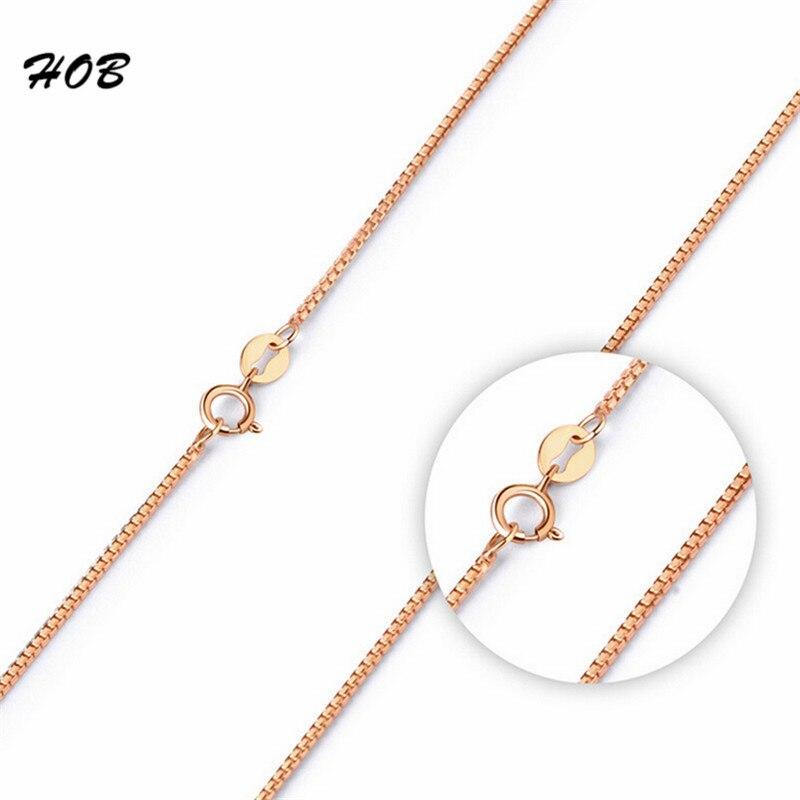 LINDAJOUX 2017 Romantic Rose Gold Color Box Chain Necklaces For Women Elegant Fashion Necklace Jewelry Wholesale 45cm TFSJ030