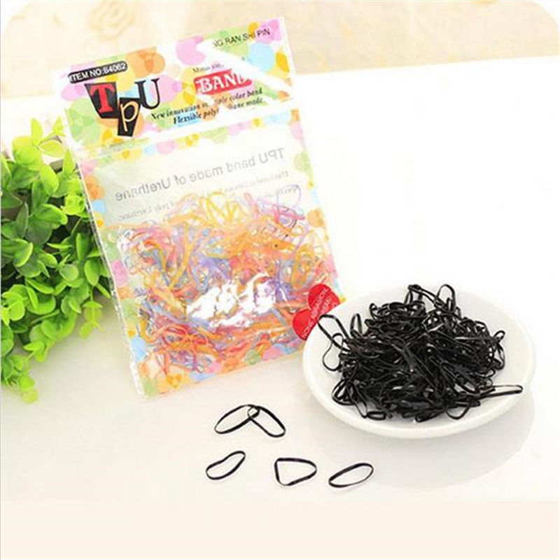 200PCS/PACK Trendy Transparent Rubber TPU Band black rainbow colours Women Girls Elastic Hair Band Tie Rope Hair Accessories ...