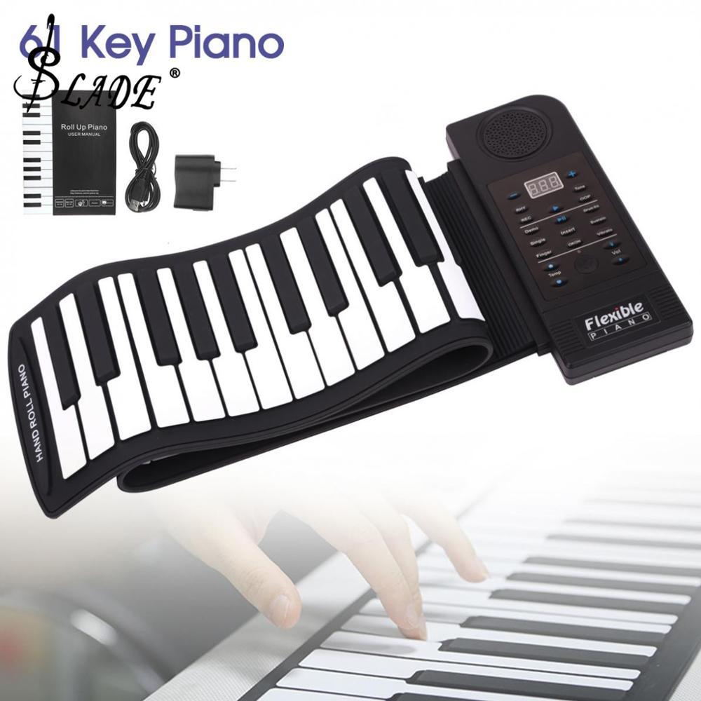 Acima de Piano de Silicone Portátil Tons Teclas Rolam Flexível Teclado Eletrônico Midi Órgão Crianças Brinquedos Built-in Alto-falante 128 61
