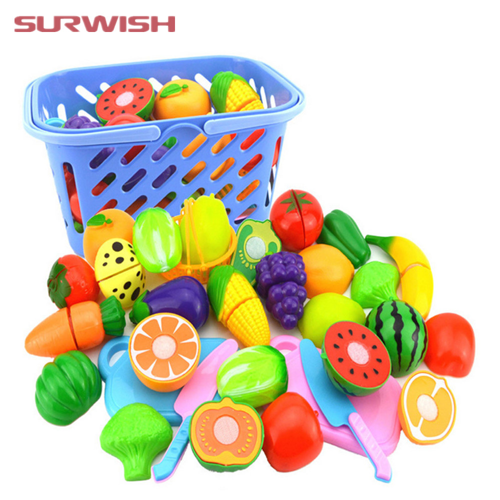 Surwish 23Pcs/Set Plastic Fruit Vegetables Cutting Toy Early Development and Education T ...