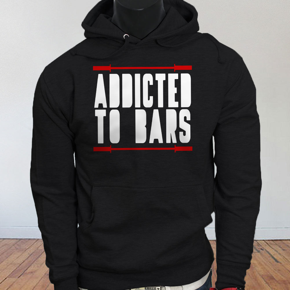ADDICTED TO BARS GYM WORKOUT LIFT GAINS FITNESS Mens Black Hoodie