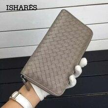 ISHARES classic Sheepskin weave women purse genuine leather long zipper handmade woven lambskin wallets lady long purse IS1316