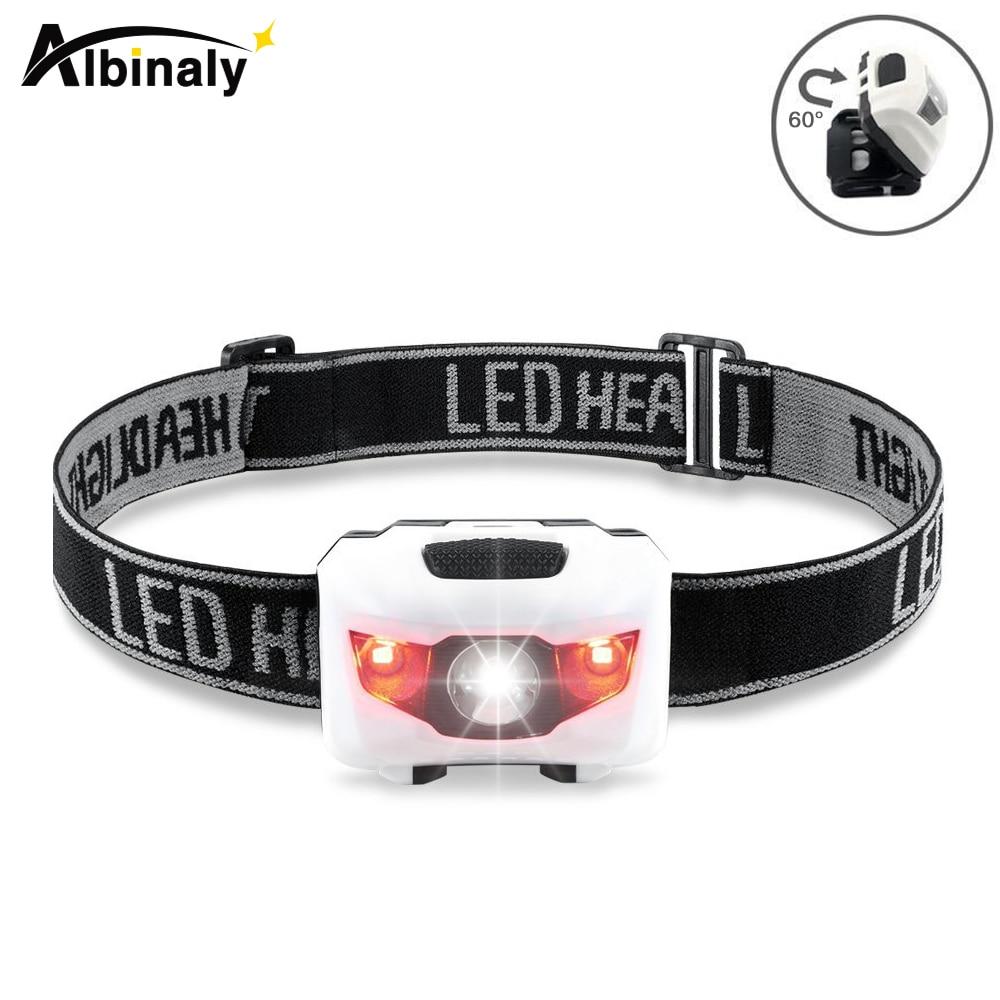 Albinaly Mini HeadLamp 4 Mode Waterproof R3+2 LED Super Bright Headlight Headlamp Torch Lanterna With Headband Use 3xAAA Battery