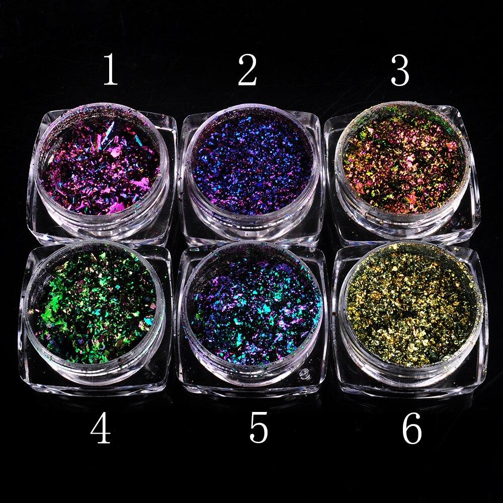 1 Box Chameleon Flakes Shimmer Galaxy Nail Glitter Dust: 0.2g/box 6 Colors Chameleon Flakes Nail Powder Flakes Nail