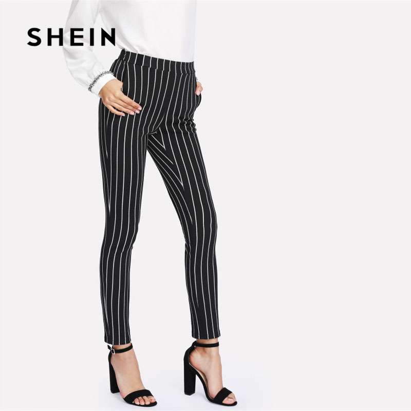 SHEIN Vertical Striped Skinny Pants 2018 New Arrival Elastic Waist Skinny Workwear Spring Mid Waist Long Women Trousers