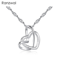 Nanviee Fashion Double Hearts Crossed Pendants Necklaces For Women Stainless Steel Chain Necklace ANE010