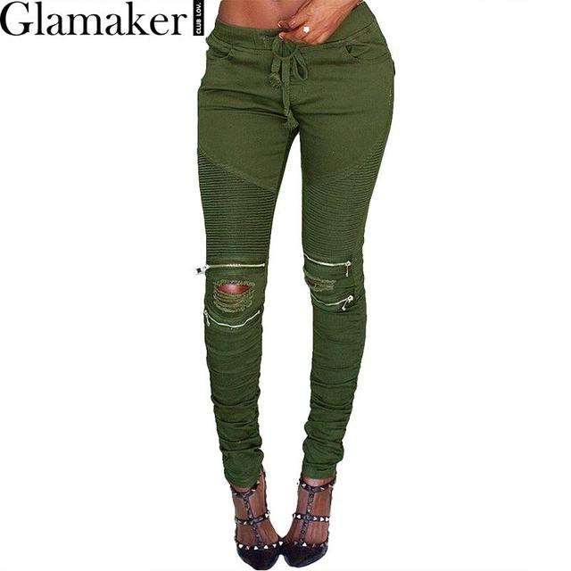 Glamaker Sexy bodycon zipper army green ripped jeans 2016 Autumn pleated casual stretch jeans female long skinny denim pants