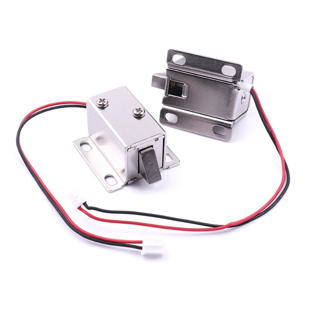 2pcs dc 12v top-grade mini solenoid electromagnetic electric control door  locks with 2 wires