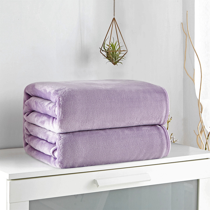Purple Solid Color Fleece Blanket Adult Multi Size Cheap Airplane Flannel Blankets