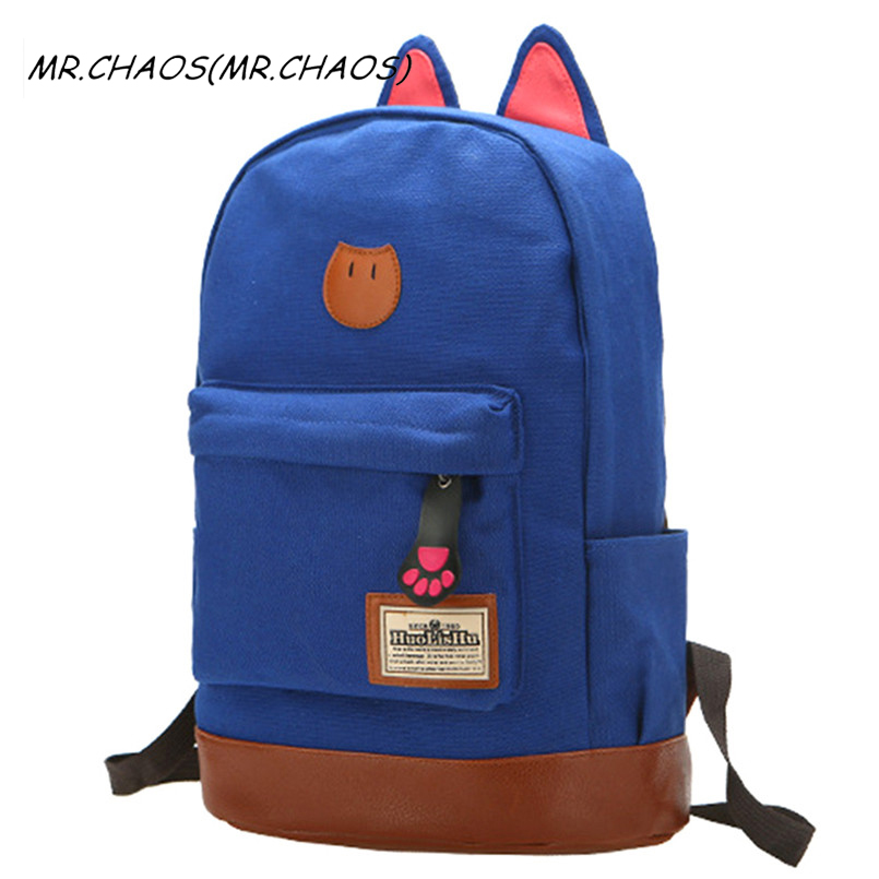 2017 new fashion campus School bag girls backpack women travel bag of young men canvas backpack bags Cat ears cartoon package