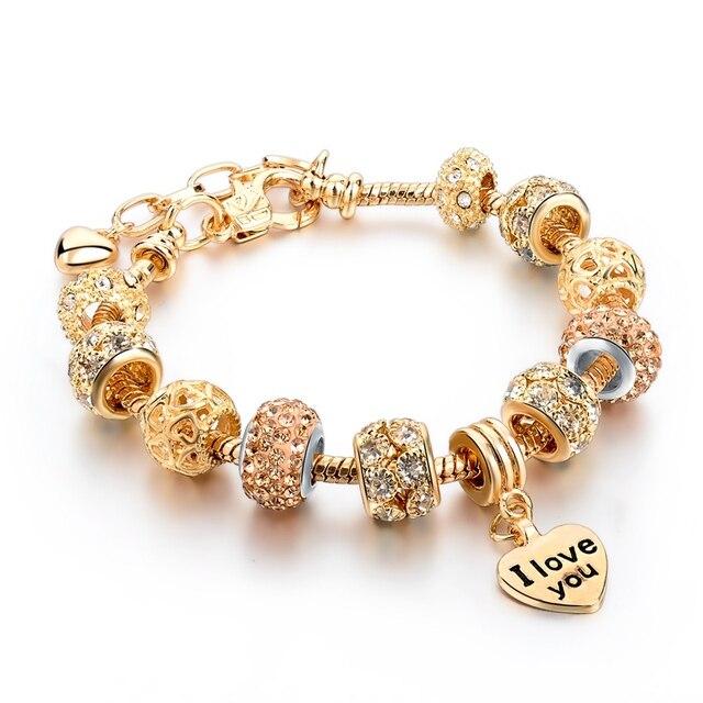 Сердце браслет для женщин золотые браслеты на запястье с кристаллами бусины  Женский Diy ювелирных подарок SBR160067 13884acc291