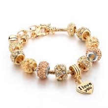 Bangles heart charm bracelets beads gold bracelet crystal female diy gift