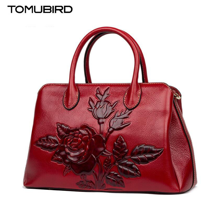 TOMUBIRD new superior cowhide leather Designer Floral Collection famous brand women bag fashion Tote women genuine leather bag tomubird new superior cowhide leather designer rose embossed famous brand women bag fashion tote women genuine leather bag