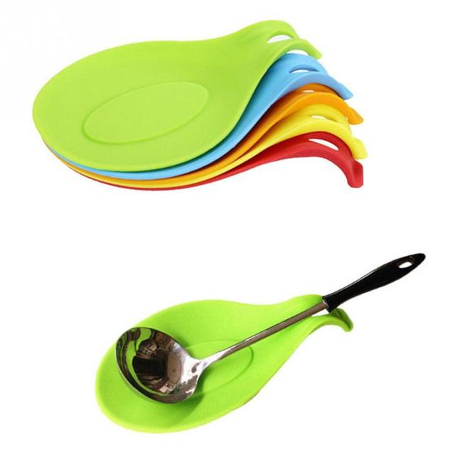 Attractive 1Pc Silicone Spoon Insulation Mat Placemat Drink Glass Coaster Tray