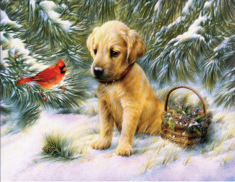 Full circular diamond embroidery dog and birds needlework cross stitch set square diamond painting animal wall picture Crafts