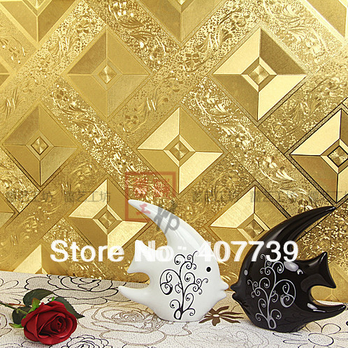Us 4350 Wholesale 53square Meterroll New Eco Friendly Gold Foil Wallpaper Tile Wall Papers Roll Free Shipping In Wallpapers From Home Improvement